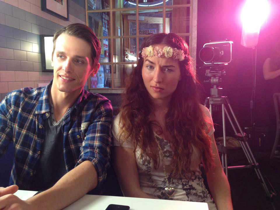 Brian Hanford and Samantha Schnitzler on the set of Into the Stream