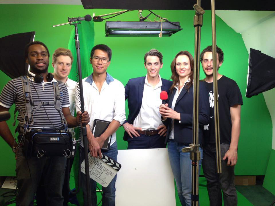 Don Nelson, Alexey Marfin, Chapman Kan, Brian Hanford, Sabine Crossen, and Vini Curtis on the set of Into the Stream