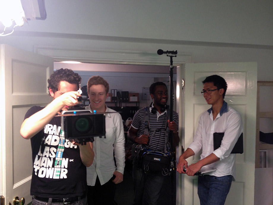 Alexey Marfin, Don Nelson, Chapman Kan, and Vini Curtis on the set of Into the Stream