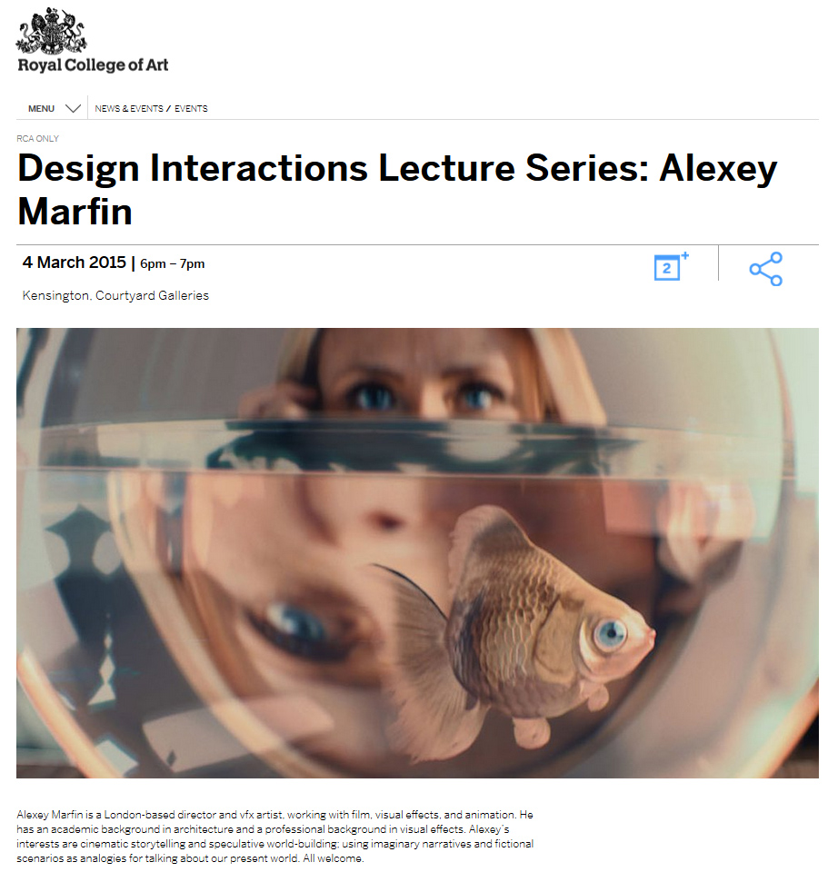 Alexey Marfin RCA Design Interactions Lecture