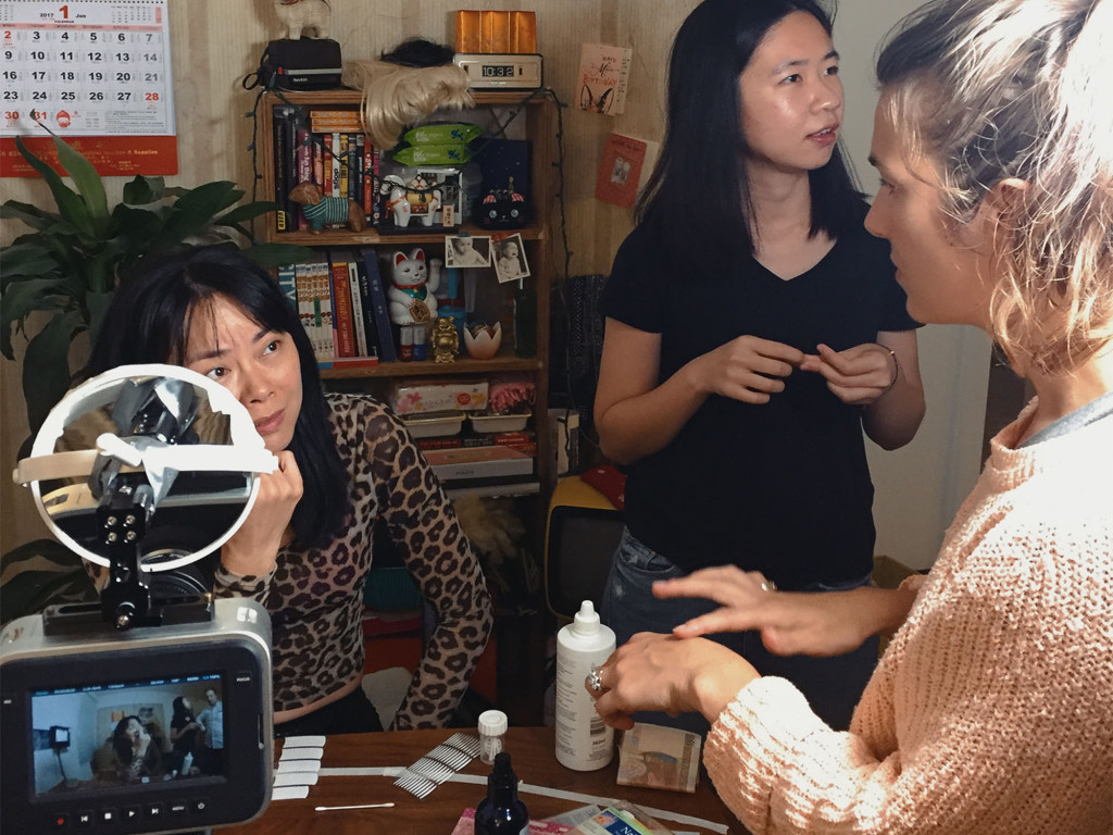 Shirley To, Vivian Xin Zhen, and Stephanie G-M on the set of Kowloon Forest